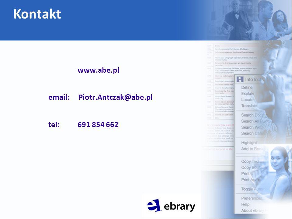 www.abe.pl email: Piotr.Antczak@abe.pl tel: 691 854 662 Kontakt