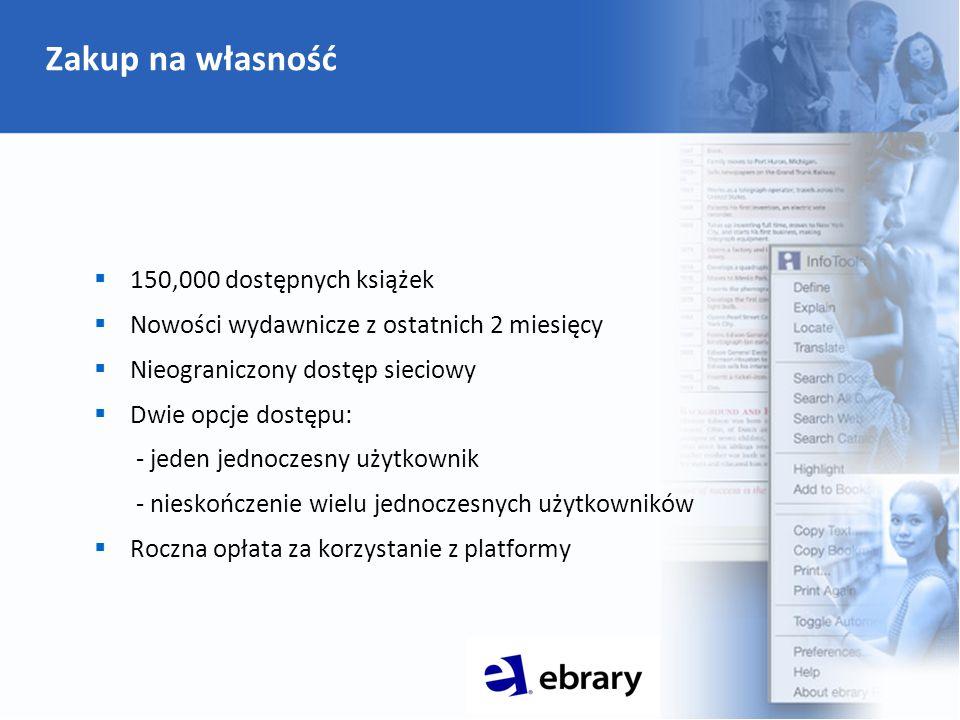 Zakup na własność  150,000 dostępnych książek  Nowości wydawnicze z ostatnich 2 miesięcy  Nieograniczony dostęp sieciowy  Dwie opcje dostępu: - jeden jednoczesny użytkownik - nieskończenie wielu jednoczesnych użytkowników  Roczna opłata za korzystanie z platformy