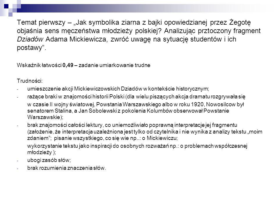 """Temat pierwszy – """"Jak symbolika ziarna z bajki opowiedzianej przez Żegotę objaśnia sens męczeństwa młodzieży polskiej? Analizując prztoczony fragment"""