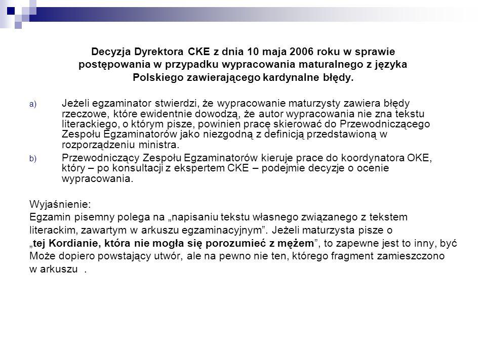 Decyzja Dyrektora CKE z dnia 10 maja 2006 roku w sprawie postępowania w przypadku wypracowania maturalnego z języka Polskiego zawierającego kardynalne