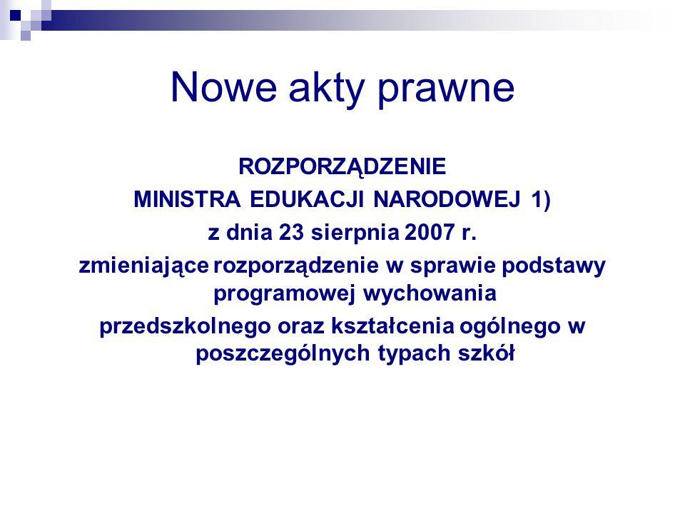Nowe akty prawne ROZPORZĄDZENIE MINISTRA EDUKACJI NARODOWEJ 1) z dnia 23 sierpnia 2007 r. zmieniające rozporządzenie w sprawie podstawy programowej wy