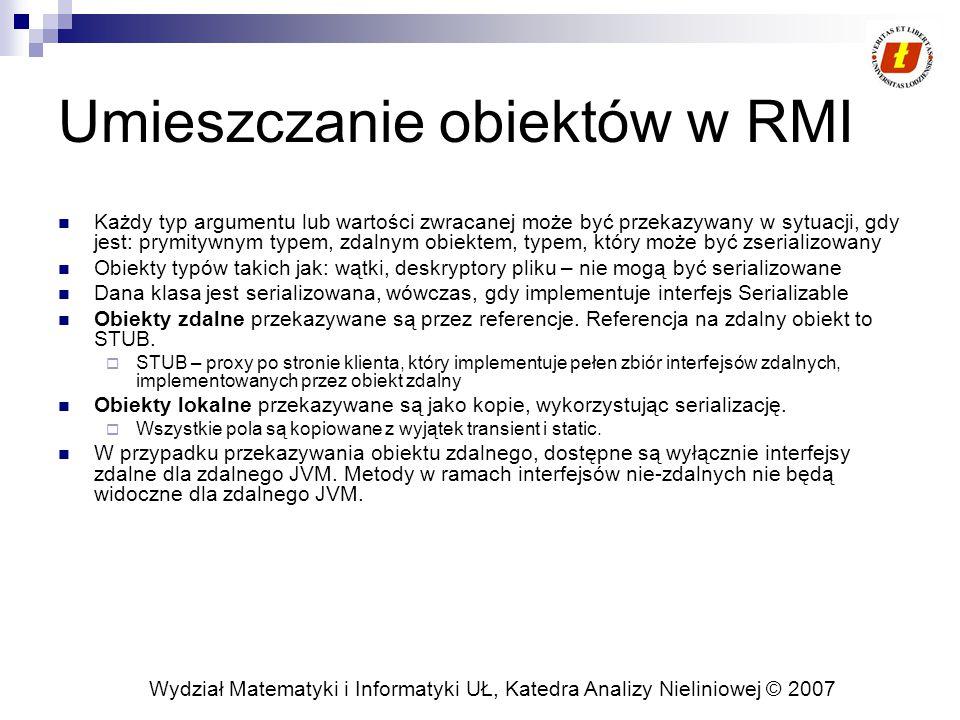 Wydział Matematyki i Informatyki UŁ, Katedra Analizy Nieliniowej © 2007 Umieszczanie obiektów w RMI Każdy typ argumentu lub wartości zwracanej może by