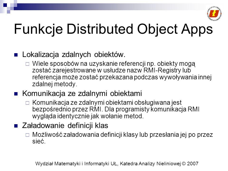 Wydział Matematyki i Informatyki UŁ, Katedra Analizy Nieliniowej © 2007 Funkcje Distributed Object Apps Lokalizacja zdalnych obiektów.