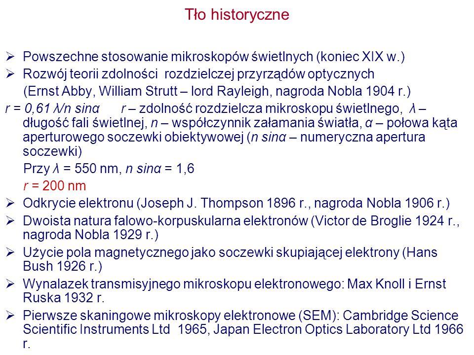 Tło historyczne  Powszechne stosowanie mikroskopów świetlnych (koniec XIX w.)  Rozwój teorii zdolności rozdzielczej przyrządów optycznych (Ernst Abby, William Strutt – lord Rayleigh, nagroda Nobla 1904 r.) r = 0,61 λ/n sinα r – zdolność rozdzielcza mikroskopu świetlnego, λ – długość fali świetlnej, n – współczynnik załamania światła, α – połowa kąta aperturowego soczewki obiektywowej (n sinα – numeryczna apertura soczewki) Przy λ = 550 nm, n sinα = 1,6 r = 200 nm  Odkrycie elektronu (Joseph J.