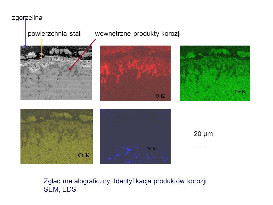 O K Fe K Cr K S K 20 μm Zgład metalograficzny. Identyfikacja produktów korozji SEM, EDS zgorzelina powierzchnia stali wewnętrzne produkty korozji