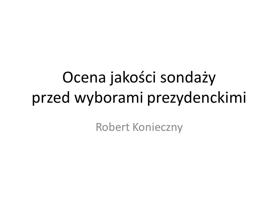 Sondaże przed wyborami prezydenckimi Wybory prezydenckie: – I tura – 10 maja 2015 – II tura – 24 maja 2015 Sondaże i ośrodki demoskopijne: – CBOS – Estymator – GfK Polonia – IBRIS (Homo Homini) – Millward Brown (dawne SMG/KRC) – PP/ROBOP – TNS Polska (dawny TNS OBOP) Sondaże i ośrodki o niejasnej proweniencji: – Pressmix – Sonda uliczna ewybory.eu