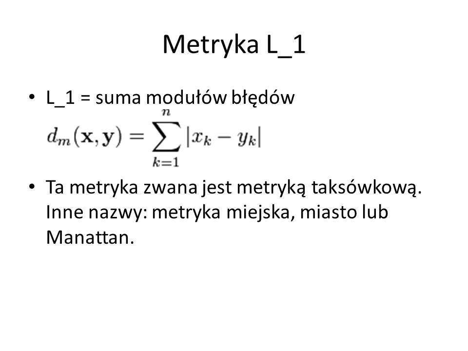 Metryka L_1 L_1 = suma modułów błędów Ta metryka zwana jest metryką taksówkową.