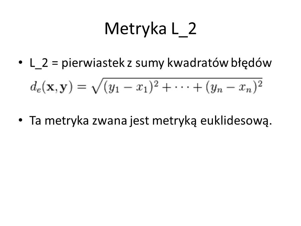 Metryka L_2 L_2 = pierwiastek z sumy kwadratów błędów Ta metryka zwana jest metryką euklidesową.