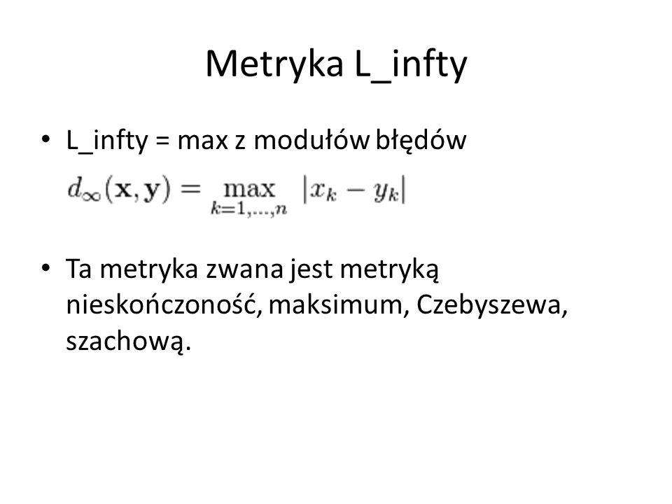 Metryka L_infty L_infty = max z modułów błędów Ta metryka zwana jest metryką nieskończoność, maksimum, Czebyszewa, szachową.