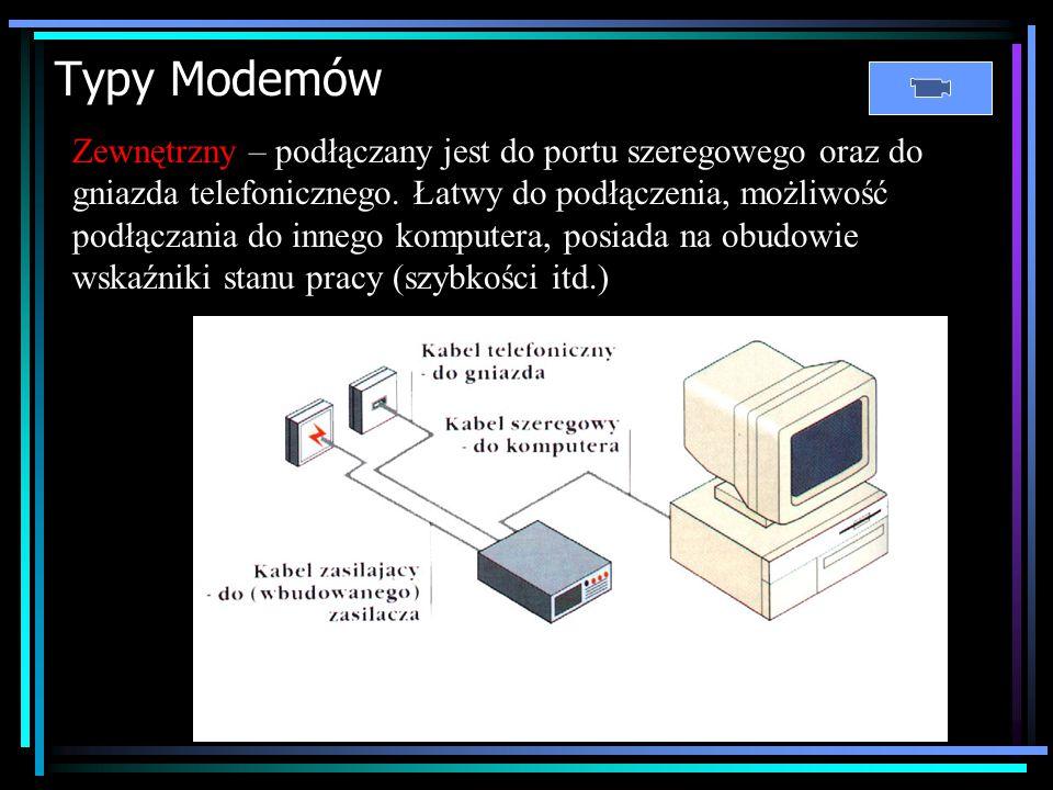 Modem (MOdulator-DEModulator) Modem to urządzenie, które przekształca zapis cyfrowy (binarny – ciąg zero-jedynkowy czytany przez komputer) na sygnał a