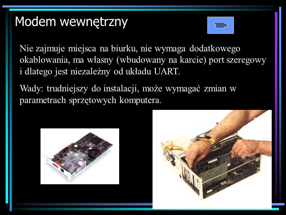 Typy Modemów Zewnętrzny – podłączany jest do portu szeregowego oraz do gniazda telefonicznego. Łatwy do podłączenia, możliwość podłączania do innego k