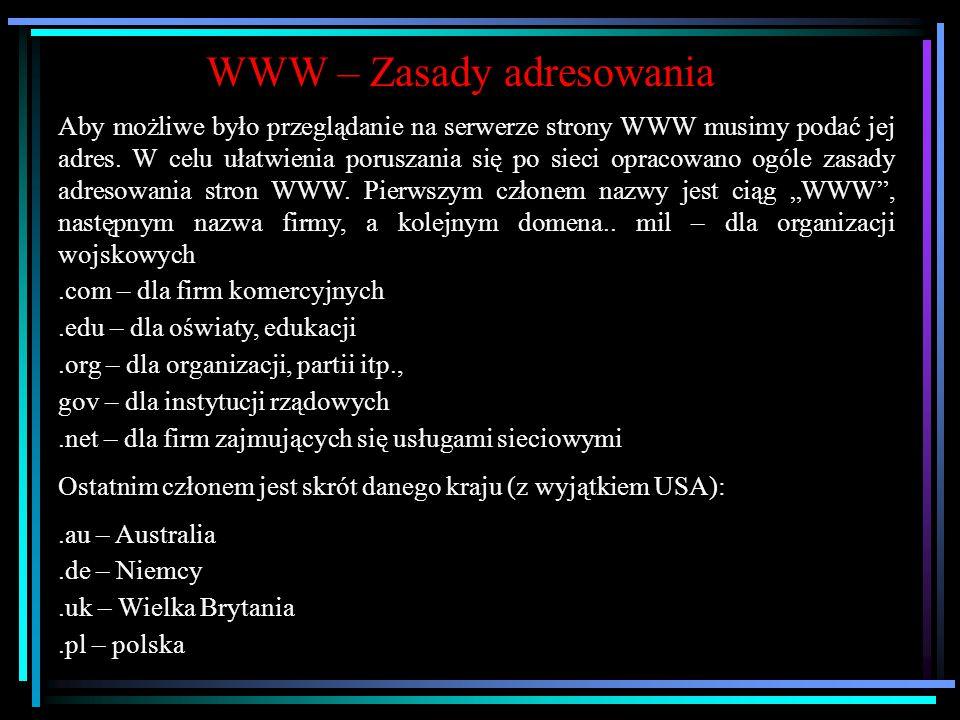 WWW WWW World Wide Web Ogólnoświatowa pajęczyna