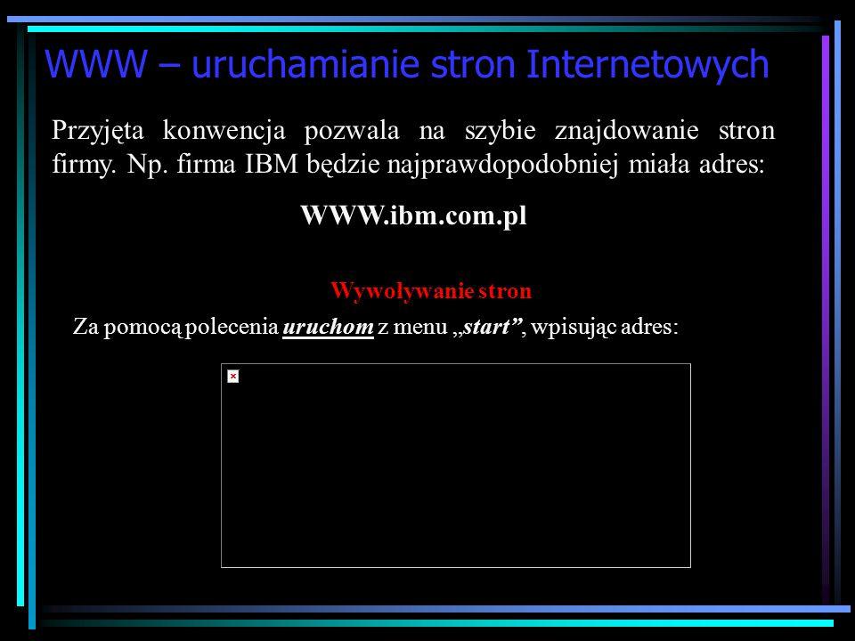 WWW – Zasady adresowania Aby możliwe było przeglądanie na serwerze strony WWW musimy podać jej adres. W celu ułatwienia poruszania się po sieci opraco