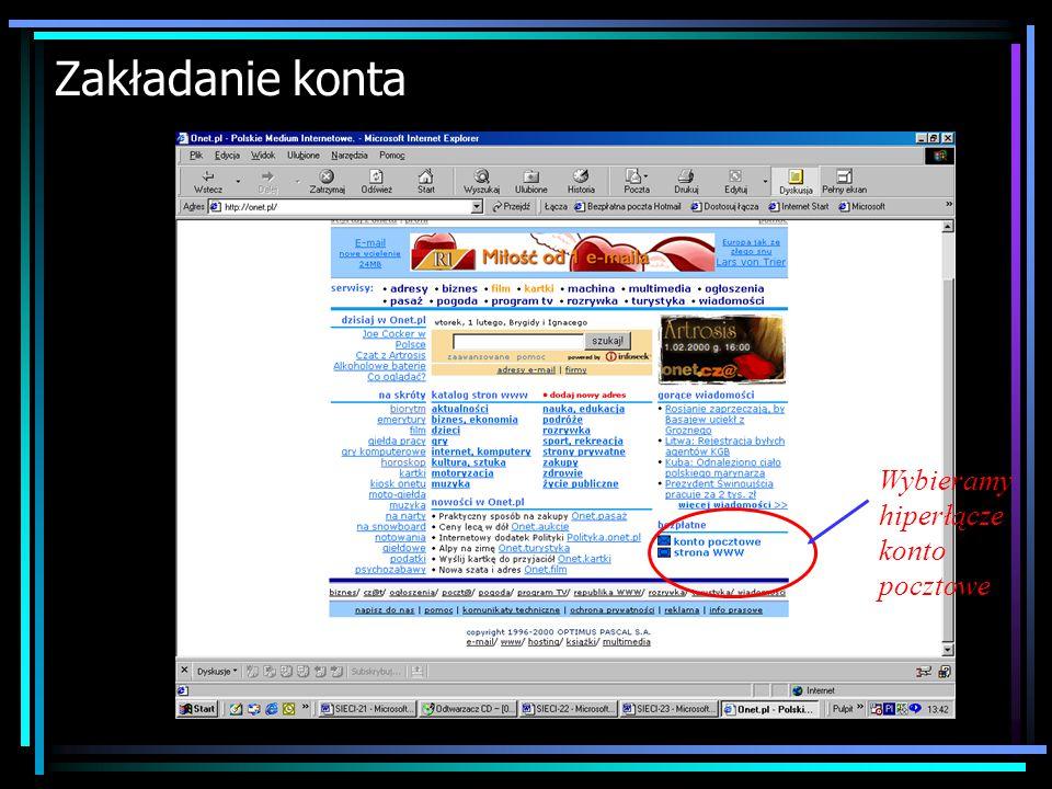 E-mail Adres poczty elektronicznej składa się z dwóch części. Pierwsza z nich to login użytkownika. Druga część to domena informująca gdzie znajduje s