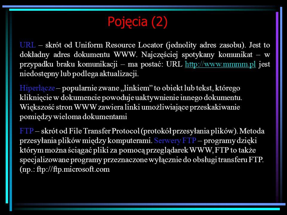 Pojęcia związane z Internetem (1) WWW – sieć World Wide Web (ogólnoświatowa pajęczyna – jest to podsystem Internetu do obsługi transferu informacji w