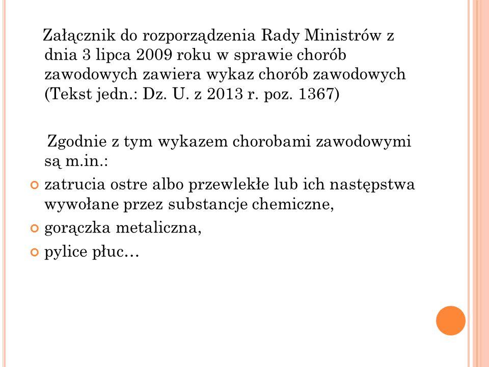 Załącznik do rozporządzenia Rady Ministrów z dnia 3 lipca 2009 roku w sprawie chorób zawodowych zawiera wykaz chorób zawodowych (Tekst jedn.: Dz. U. z