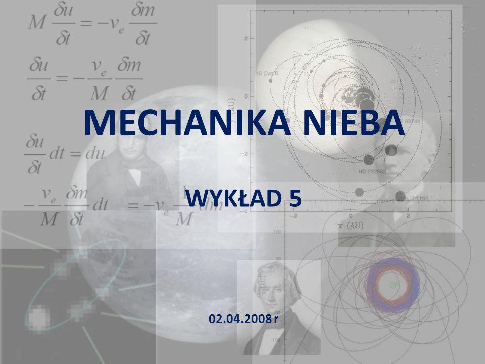 Zagadnienie dwóch ciał Równanie orbity – metoda Bineta 0 Q P θ υ ω linia apsyd Otrzymane wcześniej równanie orbity: można wyznaczyć używając metody zaproponowanej przez J.