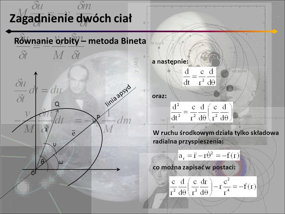 Zagadnienie dwóch ciał Równanie orbity – metoda Bineta 0 Q P θ υ ω linia apsyd a następnie: oraz: W ruchu środkowym działa tylko składowa radialna przyspieszenia: co można zapisać w postaci: