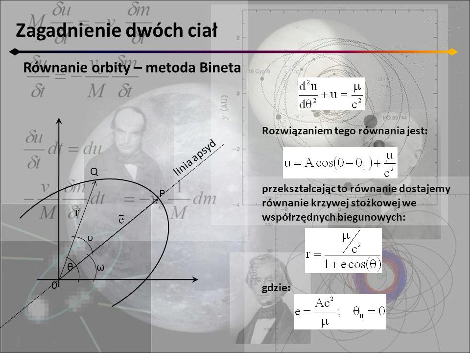 Zagadnienie dwóch ciał Równanie orbity – metoda Bineta 0 Q P θ υ ω linia apsyd przekształcając to równanie dostajemy równanie krzywej stożkowej we współrzędnych biegunowych: gdzie: Rozwiązaniem tego równania jest: