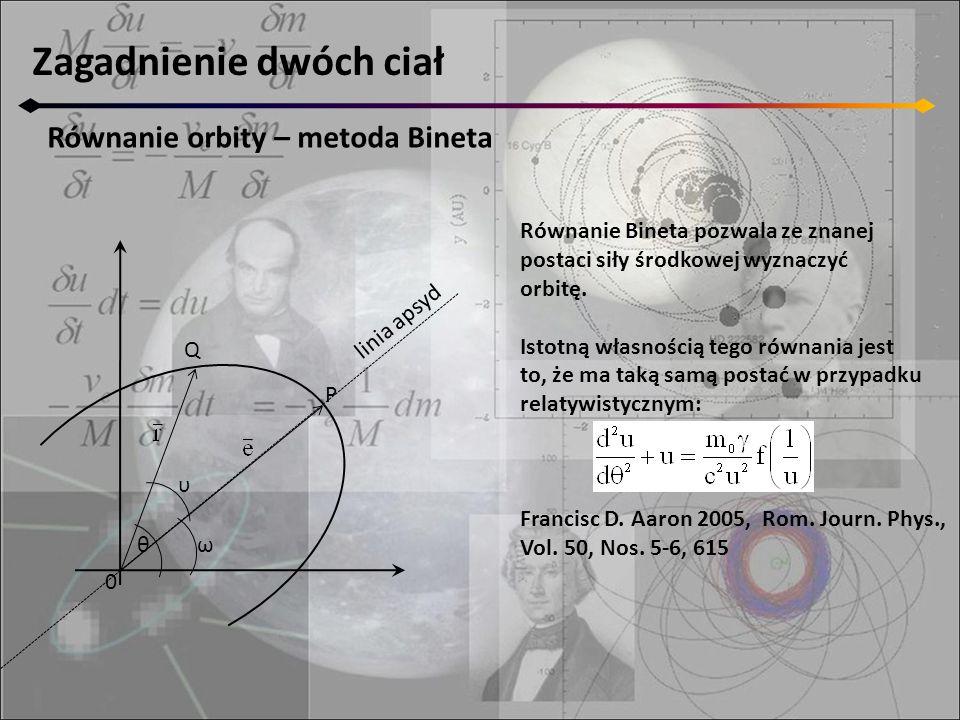 Zagadnienie dwóch ciał Równanie orbity – metoda Bineta 0 Q P θ υ ω linia apsyd Równanie Bineta pozwala ze znanej postaci siły środkowej wyznaczyć orbi