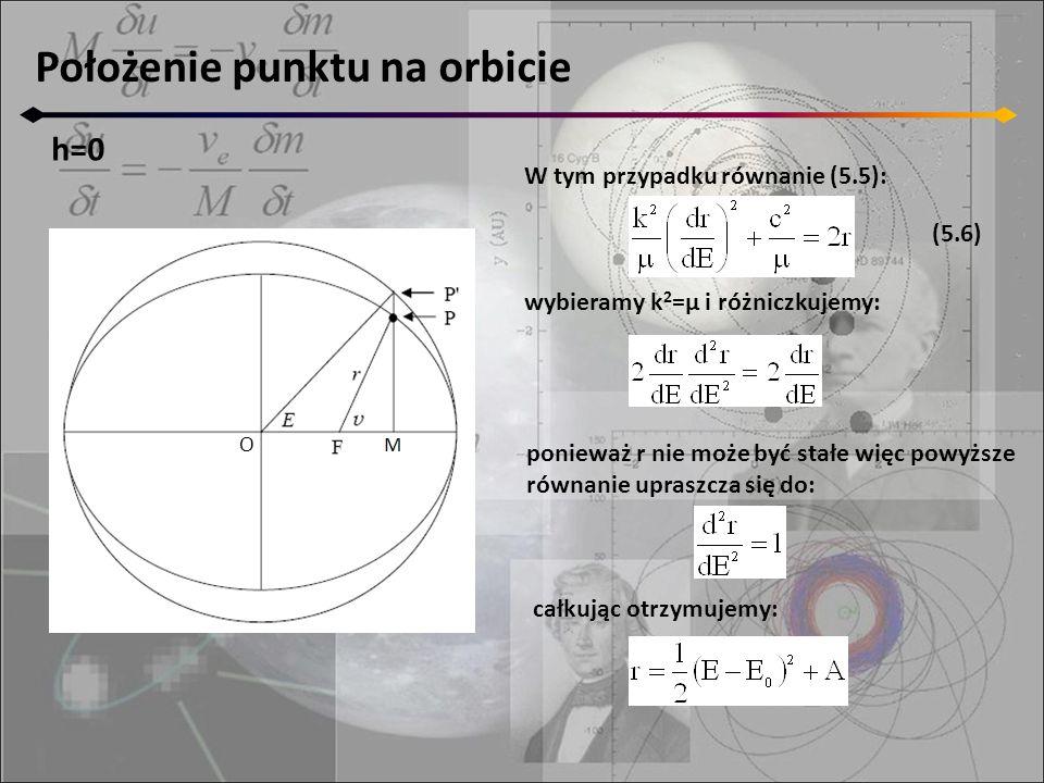 Położenie punktu na orbicie h=0 O W tym przypadku równanie (5.5): wybieramy k 2 =μ i różniczkujemy: ponieważ r nie może być stałe więc powyższe równan