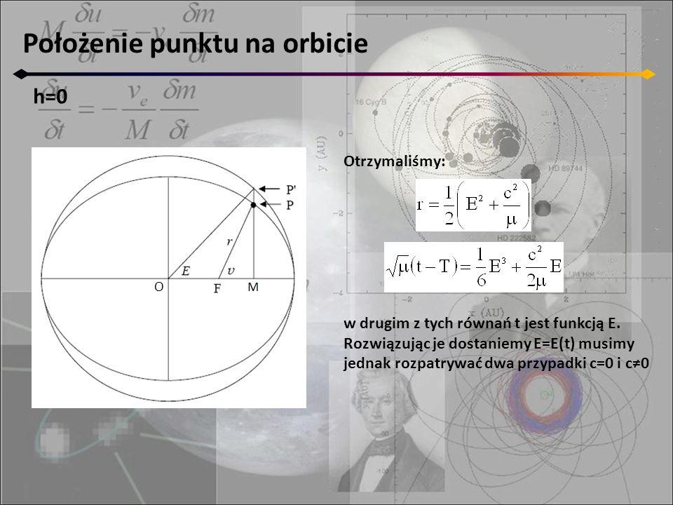 Położenie punktu na orbicie h=0 O Otrzymaliśmy: w drugim z tych równań t jest funkcją E. Rozwiązując je dostaniemy E=E(t) musimy jednak rozpatrywać dw