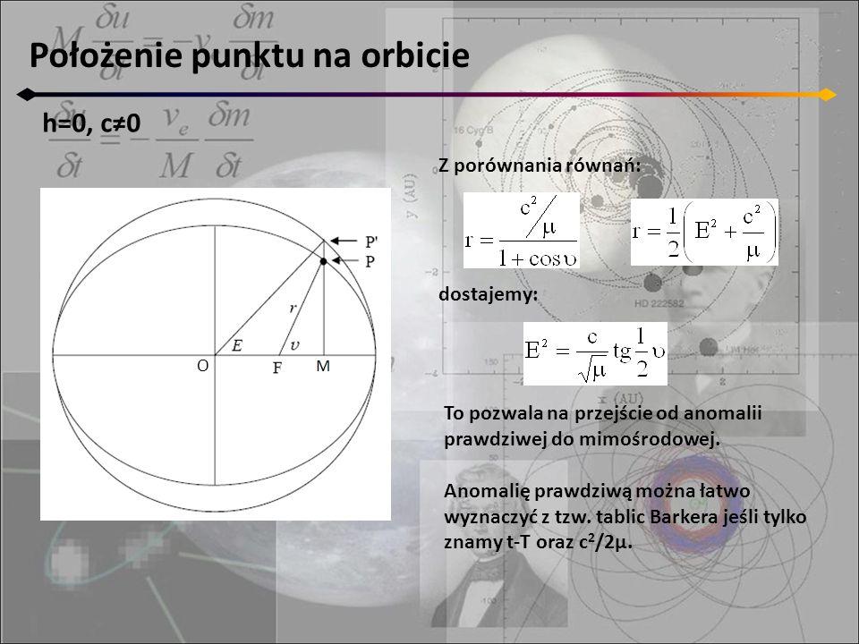 Położenie punktu na orbicie h=0, c≠0 O Z porównania równań: dostajemy: To pozwala na przejście od anomalii prawdziwej do mimośrodowej. Anomalię prawdz