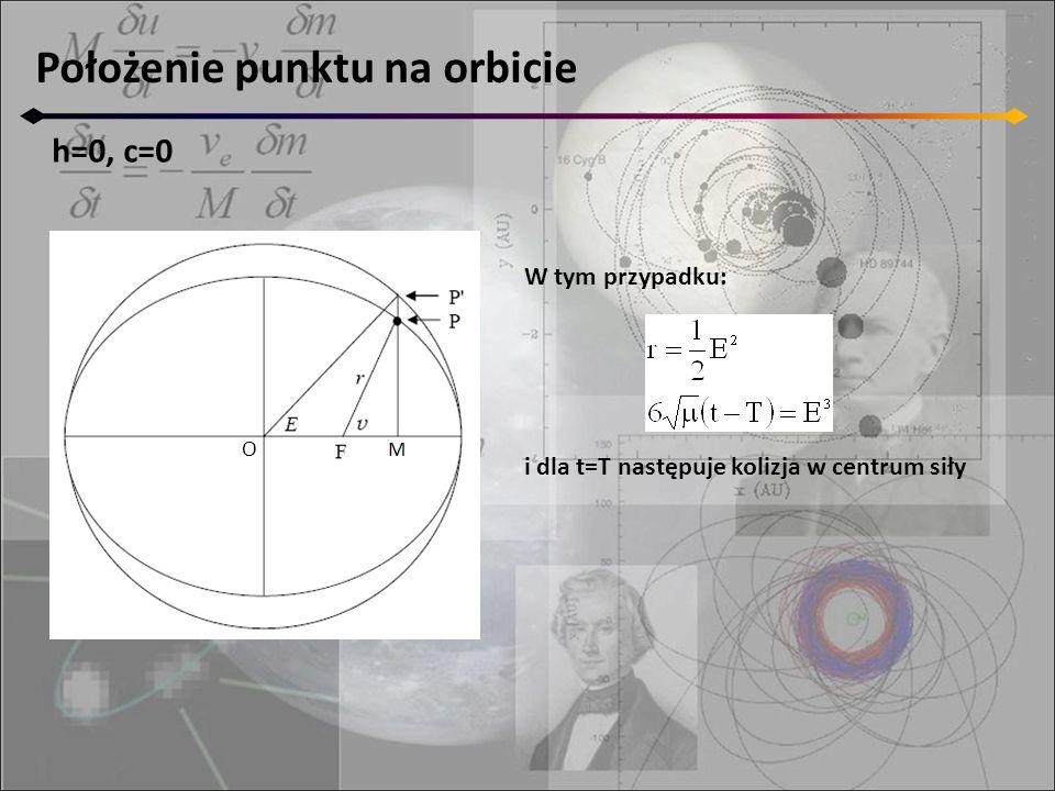 Położenie punktu na orbicie h=0, c=0 O W tym przypadku: i dla t=T następuje kolizja w centrum siły