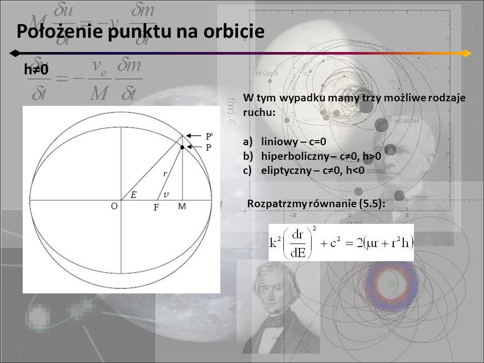 Położenie punktu na orbicie h≠0 O W tym wypadku mamy trzy możliwe rodzaje ruchu: a)liniowy – c=0 b)hiperboliczny – c≠0, h>0 c)eliptyczny – c≠0, h<0 Rozpatrzmy równanie (5.5):
