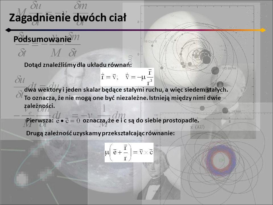 Dotąd znaleźliśmy dla układu równań: dwa wektory i jeden skalar będące stałymi ruchu, a więc siedem stałych. To oznacza, że nie mogą one być niezależn