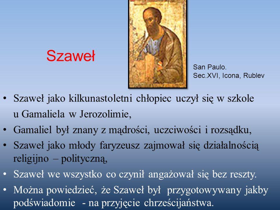 Szaweł jako kilkunastoletni chłopiec uczył się w szkole u Gamaliela w Jerozolimie, Gamaliel był znany z mądrości, uczciwości i rozsądku, Szaweł jako m