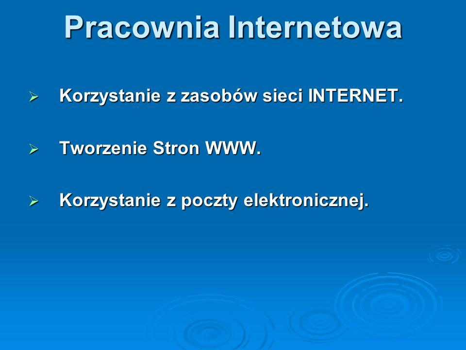 Pracownia Internetowa  Korzystanie z zasobów sieci INTERNET.  Tworzenie Stron WWW.  Korzystanie z poczty elektronicznej.