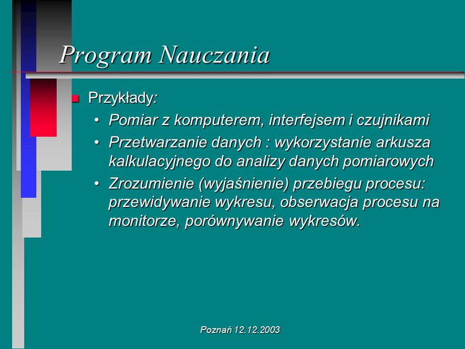 Poznań 12.12.2003 n Przykłady: Pomiar z komputerem, interfejsem i czujnikamiPomiar z komputerem, interfejsem i czujnikami Przetwarzanie danych : wykor