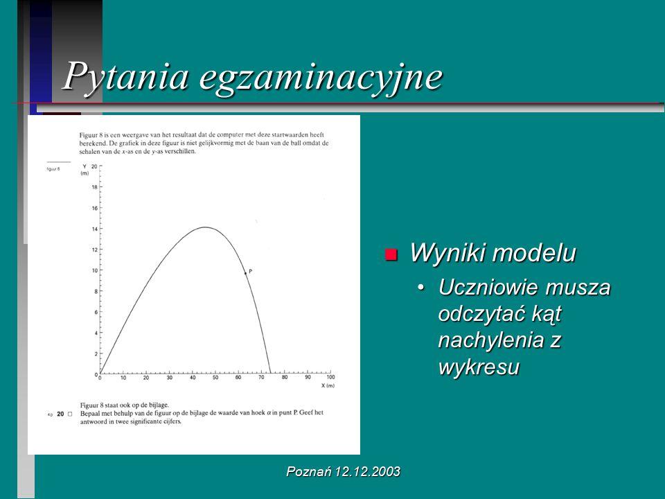 Poznań 12.12.2003 n Wyniki modelu Uczniowie musza odczytać kąt nachylenia z wykresu Pytania egzaminacyjne