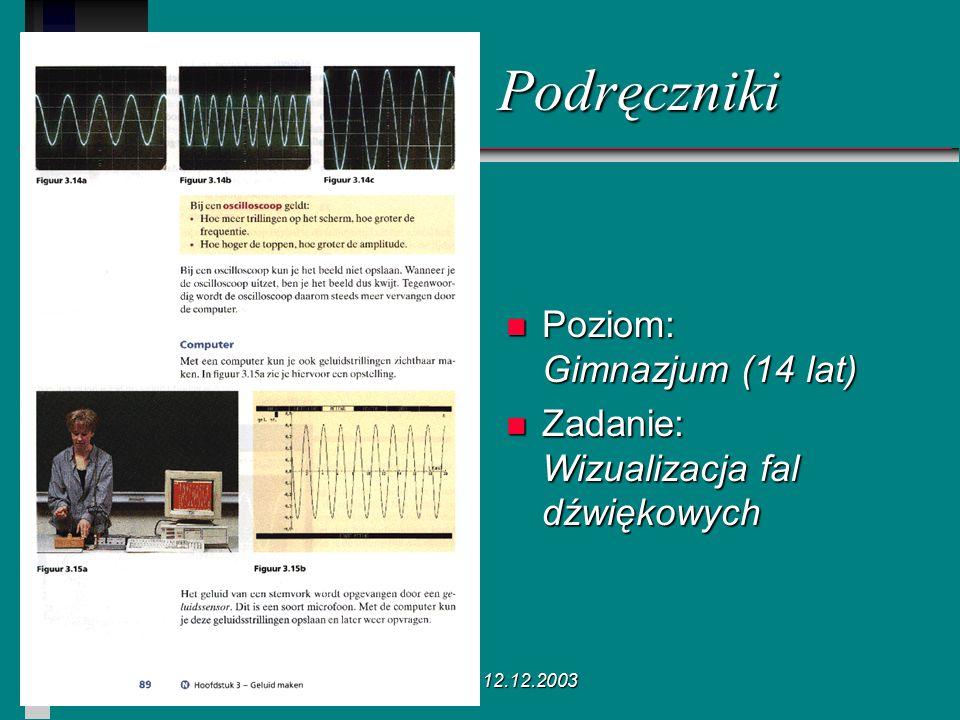 Poznań 12.12.2003 Podręczniki n Poziom: Gimnazjum (14 lat) n Zadanie: Wizualizacja fal dźwiękowych