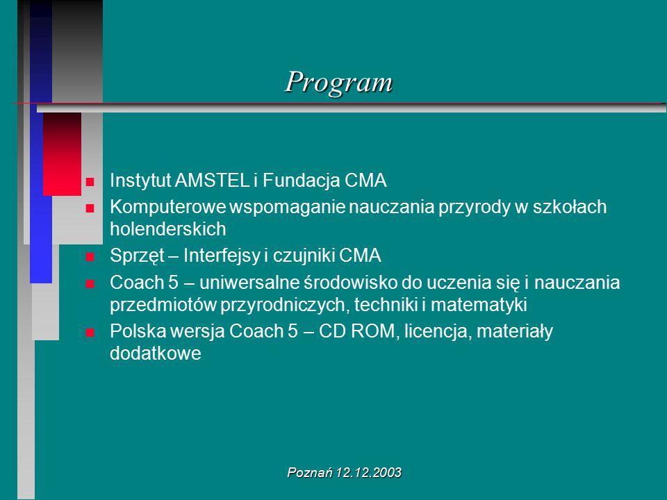 Poznań 12.12.2003 Program n n Instytut AMSTEL i Fundacja CMA n n Komputerowe wspomaganie nauczania przyrody w szkołach holenderskich n n Sprzęt – Inte