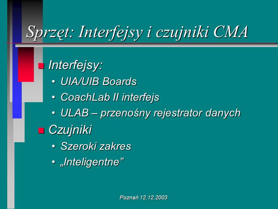 Poznań 12.12.2003 Sprzęt: Interfejsy i czujniki CMA n Interfejsy: UIA/UIB BoardsUIA/UIB Boards CoachLab II interfejsCoachLab II interfejs ULAB – przen