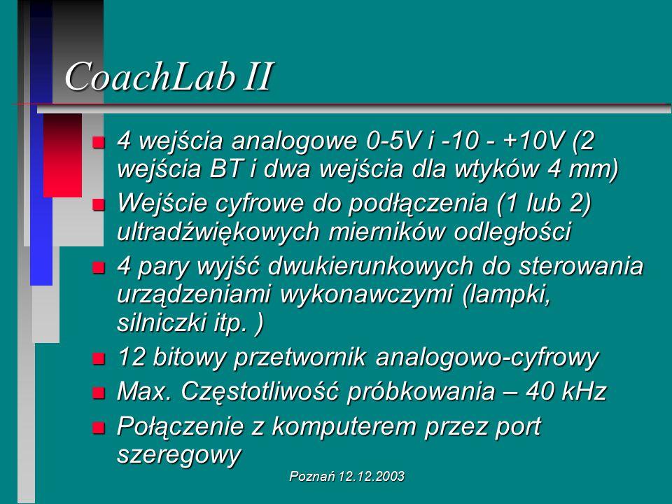 Poznań 12.12.2003 CoachLab II n 4 wejścia analogowe 0-5V i -10 - +10V (2 wejścia BT i dwa wejścia dla wtyków 4 mm) n Wejście cyfrowe do podłączenia (1
