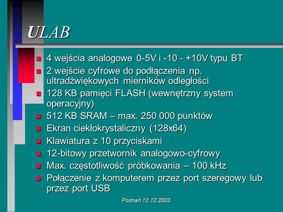 Poznań 12.12.2003 ULAB n 4 wejścia analogowe 0-5V i -10 - +10V typu BT n 2 wejście cyfrowe do podłączenia np. ultradźwiękowych mierników odległości n