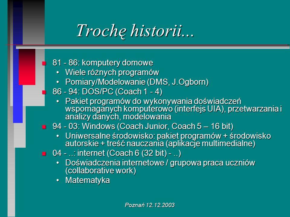 Poznań 12.12.2003 Trochę historii... n 81 - 86: komputery domowe Wiele różnych programówWiele różnych programów Pomiary/Modelowanie (DMS, J.Ogborn)Pom