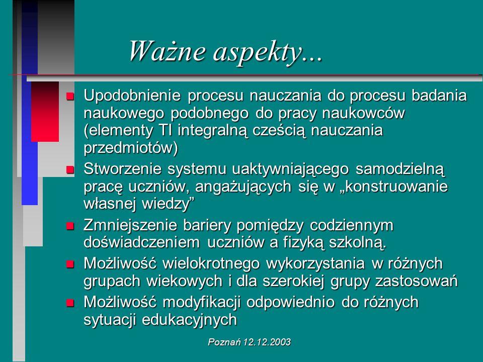 Poznań 12.12.2003 n Upodobnienie procesu nauczania do procesu badania naukowego podobnego do pracy naukowców (elementy TI integralną cześcią nauczania