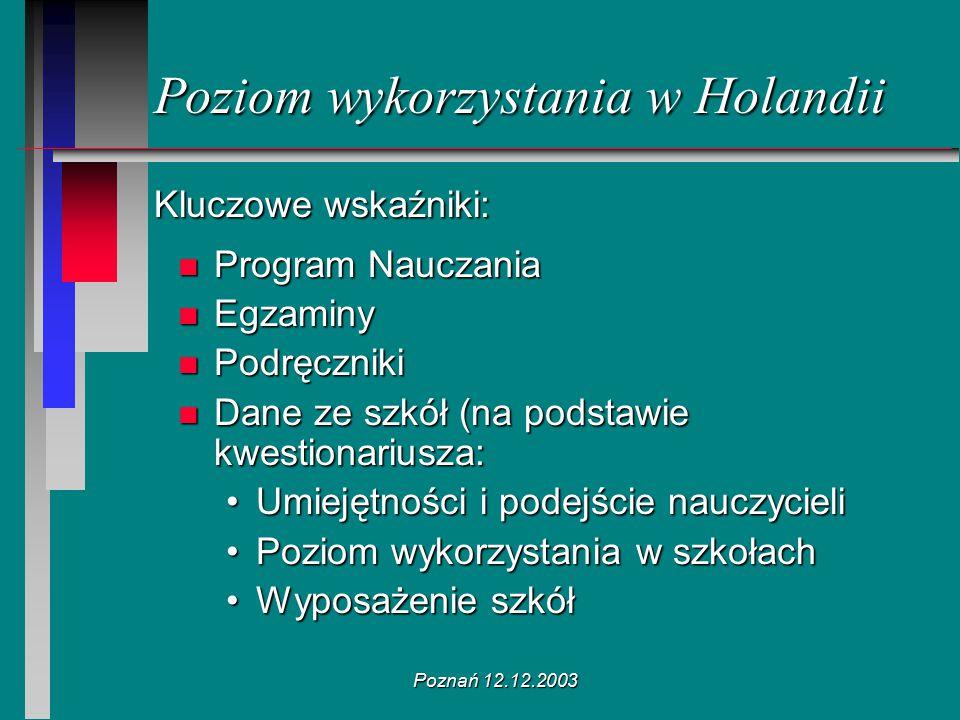 Poznań 12.12.2003 Poziom wykorzystania w Holandii Kluczowe wskaźniki: n Program Nauczania n Egzaminy n Podręczniki n Dane ze szkół (na podstawie kwest