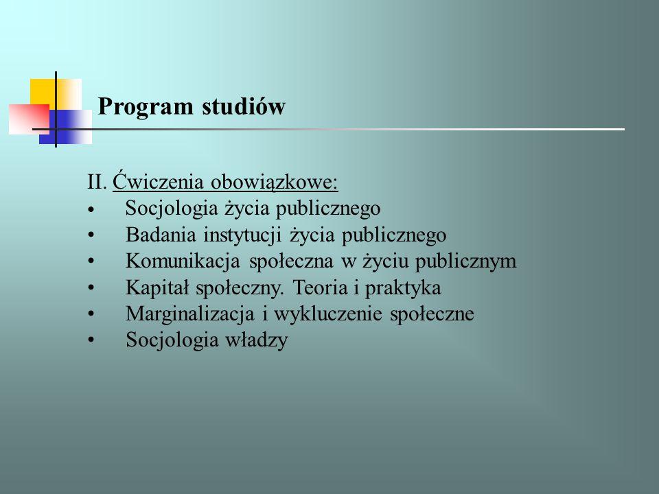 II. Ćwiczenia obowiązkowe: Socjologia życia publicznego Badania instytucji życia publicznego Komunikacja społeczna w życiu publicznym Kapitał społeczn