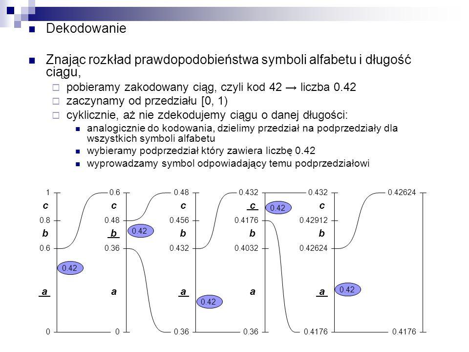 Dekodowanie Znając rozkład prawdopodobieństwa symboli alfabetu i długość ciągu,  pobieramy zakodowany ciąg, czyli kod 42 → liczba 0.42  zaczynamy od