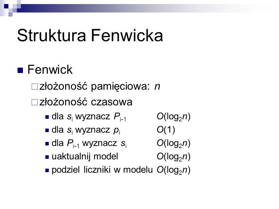 Struktura Fenwicka Fenwick  złożoność pamięciowa: n  złożoność czasowa dla s i wyznacz P i-1 O(log 2 n) dla s i wyznacz p i O(1) dla P i-1 wyznacz s