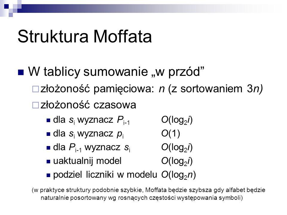 """Struktura Moffata W tablicy sumowanie """"w przód""""  złożoność pamięciowa: n (z sortowaniem 3n)  złożoność czasowa dla s i wyznacz P i-1 O(log 2 i) dla"""