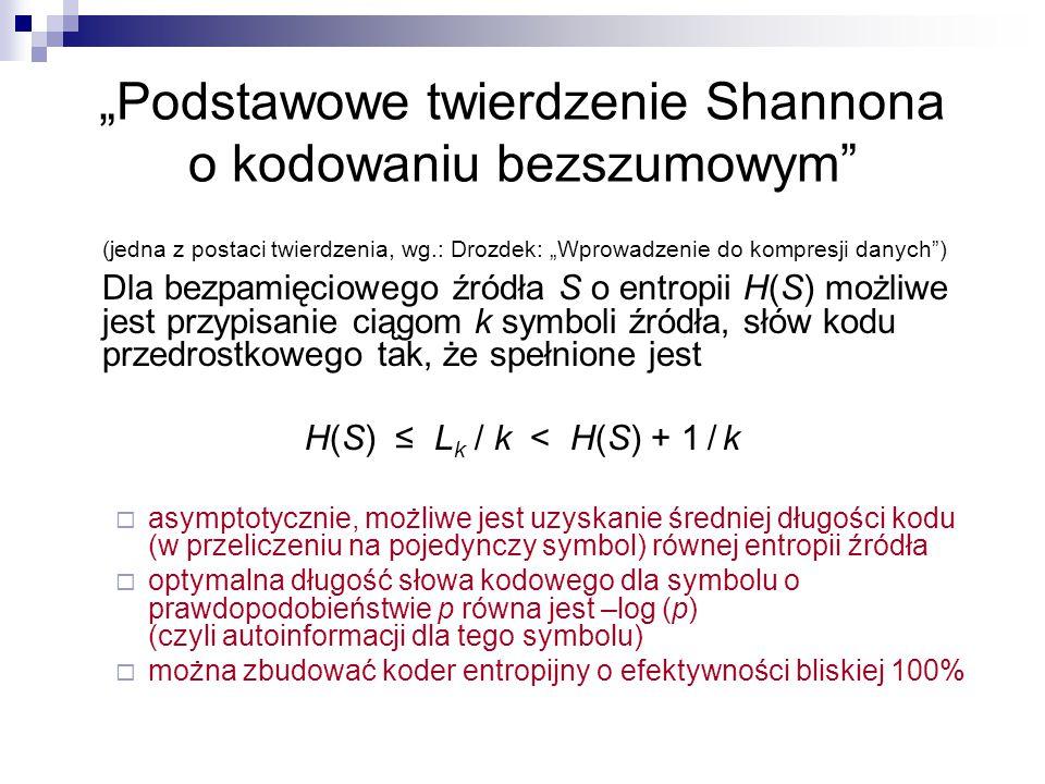 """""""Podstawowe twierdzenie Shannona o kodowaniu bezszumowym"""" (jedna z postaci twierdzenia, wg.: Drozdek: """"Wprowadzenie do kompresji danych"""") Dla bezpamię"""