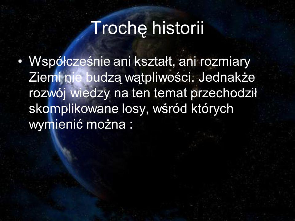 Trochę historii Współcześnie ani kształt, ani rozmiary Ziemi nie budzą wątpliwości.