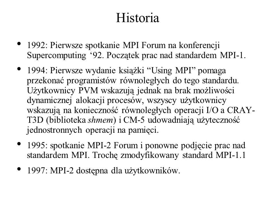 Równoległe nie-MPI I/O w programie równoległym plik Pamięć Procesor Każdy procesor pisze do oddzielnego pliku albo niezależnie czyta z tego samego lub oddzielnego pliku
