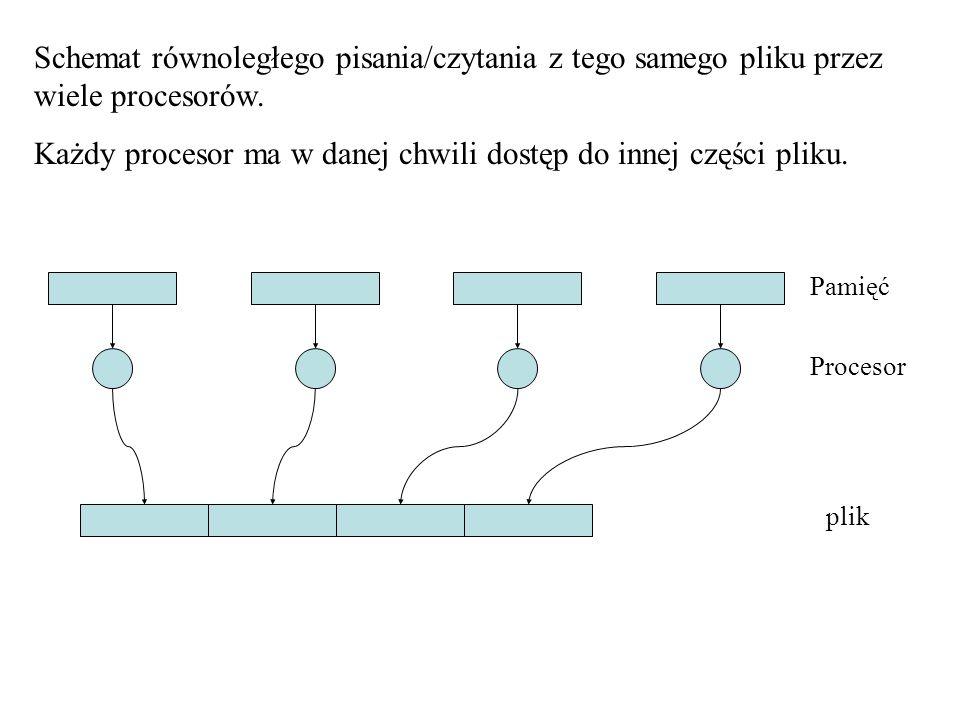 Schemat równoległego pisania/czytania z tego samego pliku przez wiele procesorów.